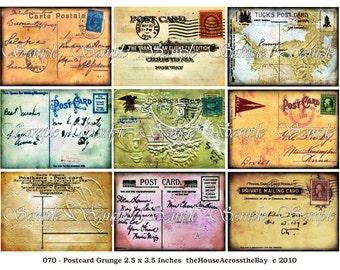 Vintage Postcards ATC ACEO Digital Collage Grunge Background Vintage Ephemera Carte Postale Jewelry Cards Tags Printable Download