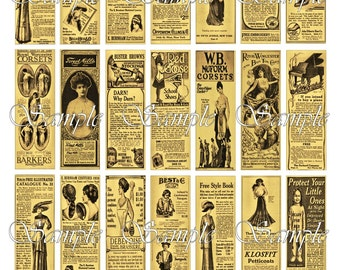 Victorian Ads Advertising Microslides Digital Collage 1 x 3 Pendant Images Ephemera Vintage Newspaper Microscope Slides Printable Download