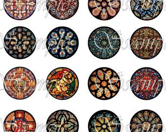 Stained Glass Circles One Inch 1 Inch Digital Collage Sheet Pendant Images Buttons Magnets Bottle Caps Christmas Tags