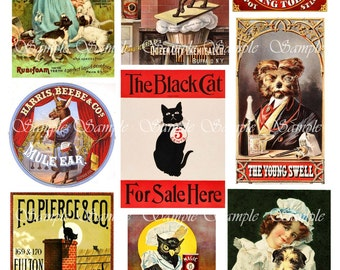 Vintage Animals in Advertising Digital Collage Vintage Victorian Labels Posters Decoupage Images Altered Art Printable Instant Download