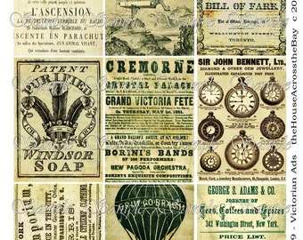 Vintage Victorian Ads ATC ACEO Digital Collage Backgrounds 2.5 x 3.5 Inch Hot Air Balloon Watch Steampunk Grunge Printable Instant Download