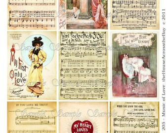 Valentines Music of Love ATC Digital Collage ACEO Backgrounds 2.5 x 3.5 Vintage Music Love Victorian Women Tags Jewelry Cards Printable