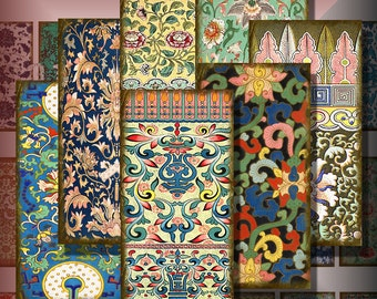 Vintage Chinese Designs Dominoes 1 x 2 Inch Digital Collage Asian Pendant Images Magnets Decoupage Images Printable Instant Download