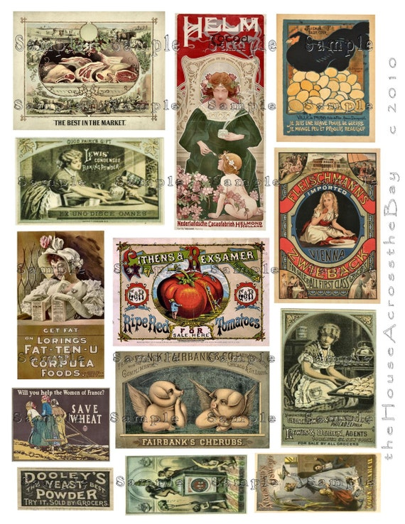 Foodie Vintage Food Ads Digital Collage Labels Victorian Advertising Digital Collage Tags  Ephemera Embellishment ACEO Altered Art 029