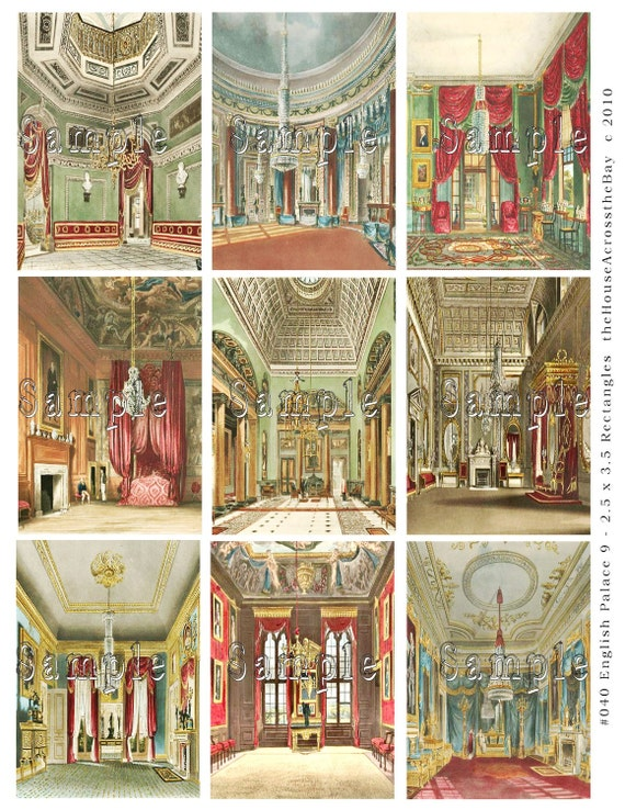 English Palace Rooms Digital Collage Sheet 2.5 x 3.5 ACEO ATC Scrapbooking Tags Cards Journaling Spots Architecture 040