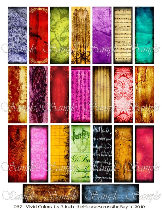 Vivid Color Microslides Digital Collage Sheet 1 x 3 Inches Jewelry ACEO ATC Cards Ephemera Embellishments Background Tags 067
