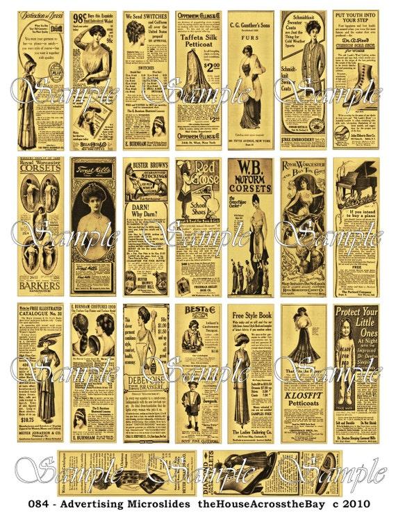 victorian ads advertising microslides digital collage 1 x 3