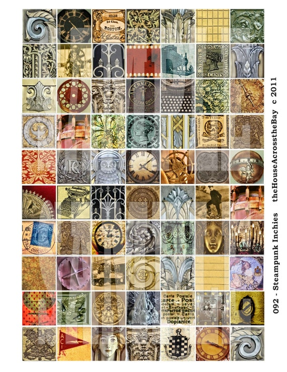 Digital Collage Inchies Steampunk Inchies 70 1 Inch Digital Collage Sheet  Pendant Digitals ACEO ATC Cards Backgrounds Tags Grunge 092