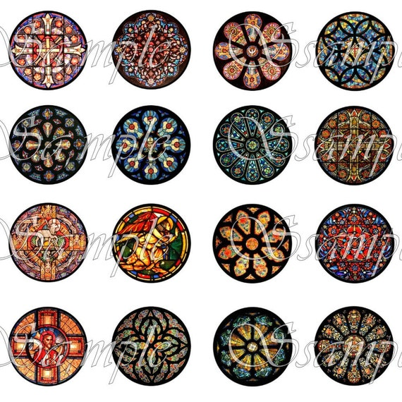 Stained Glass Circles One Inch Digital Collage 1 Inch Digital Sheet Pendant Scrapbooking ACEO ATC Vintage Embellishments Christmas Tags 088