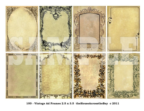Vintage Frames ATC Digital Collage ACEO Background 2.5 x 3.5 Victorian Grunge Jewelry Card Tag Steampunk Ephemera Embellishments Printable