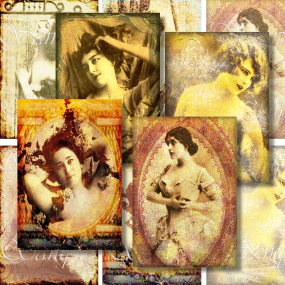 Steampunk Women ATC Digital Collage Sheet ACEO Backgrounds Digital Collage Vintage Victorian /Women Nude Actress Tags Cards Texture 167