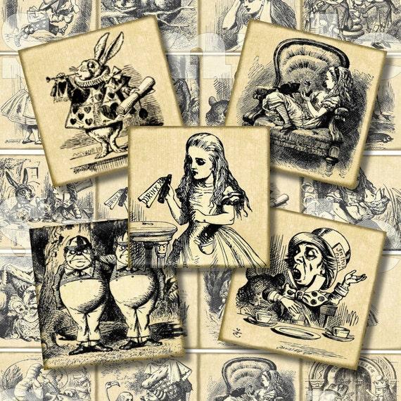 Alice in Wonderland Digital Collage Alice 2 Inch Squares Digital Wonderland Digital Squares Victorian Digital Collage Grunge Steampunk 176