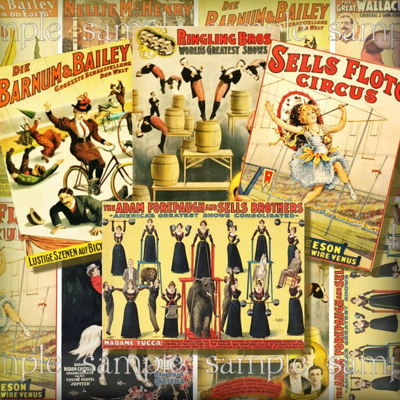 Vintage Circus Posters ATC ACEO Digital Collage Backgrounds Clowns Trapeze Horse Digital Ephemera Tags Printable Instant Download
