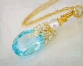 Madeleine Necklace- Swiss Blue Topaz, White Topaz, South Sea Pearl, Gold