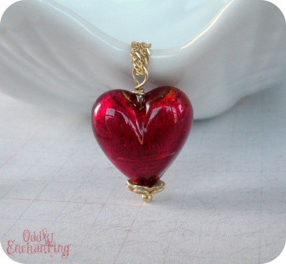 Murano Venetian Glass Large Red Heart and Gold Necklace