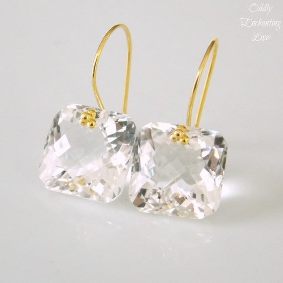 Crystal Quartz Asscher Gem Cut and Gold Earrings