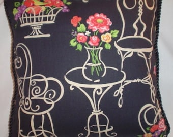 French Country Romantic Cottage Pillow Paris Bistro Floral Black Ivory Pink Green