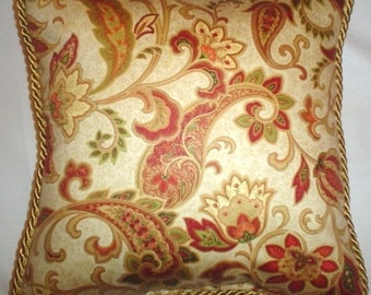 French Country Romantic Cottage Pillow Red Gold Paisley Floral