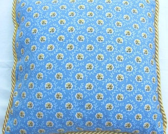 French Country Romantic Cottage Pillow Floral Sky Blue Yellow Provence Provencal