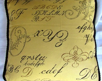 Shabby Country French Cottage Pillow Romantic Chic Monogram Yellow Black Script