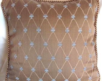 French Country Romantic Cottage Pillow Paris Bistro Beige Fleur De Lis