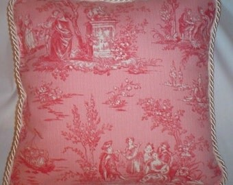Shabby Country French Pink and Ivory Toile Romantic Chic Pillow