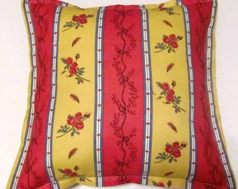 French Country Cottage Pillow Red Blue Green Provence Cushion