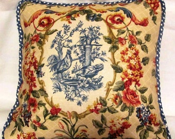 Country French Cottage Rooster Pillow Provence Check Blue Yellow Toile Hen Pillows Ivory