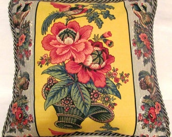 Waverly Rochelle Yellow French Provence Garden Cottage Pillow Green Floral Toile Birds