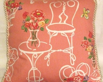 French Country Romantic Cottage Pillow Paris Bistro Floral Pink Provence Provencal