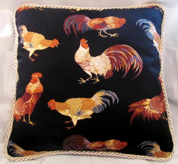 Country French Cottage Rooster Pillow Provence Black Tan Ivory