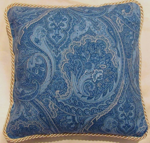 Private sale for Elieen Country French Pillow Blue Paisley Toile Provence Ivory Cottage Provencal France