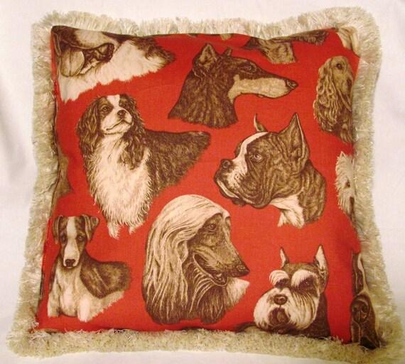 Country French English Red Dog Pillow Collie Rat Terrier Bulldog Boxer Schnauzer Cocker Spaniel
