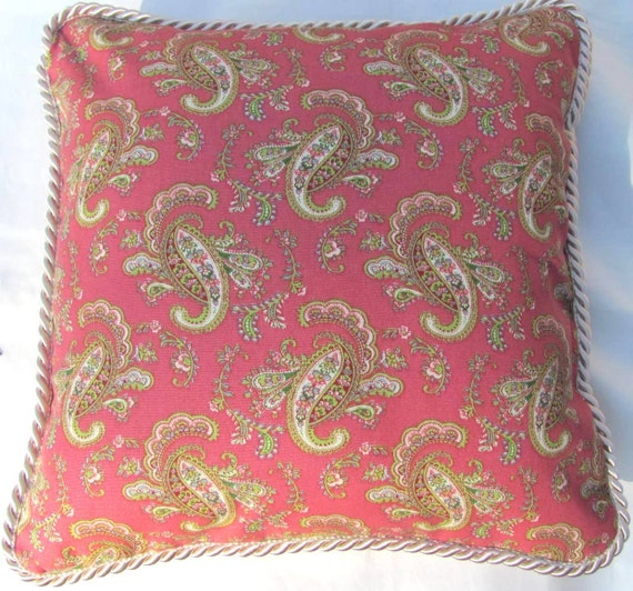 French Country Romantic Cottage Pillow Pink and Green Paisley Ivory Trim English