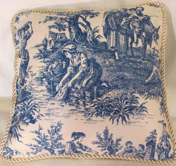 French Country Romantic Cottage Pillow Blue Ivory Toile Provence Garden Paris Parisian