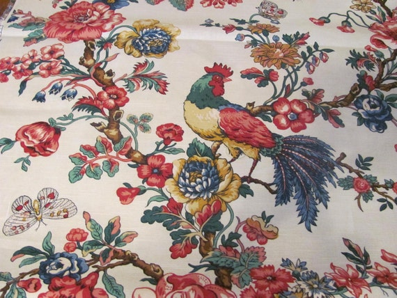 Fabric White Red Blue Green Toile Bird Animal French Country