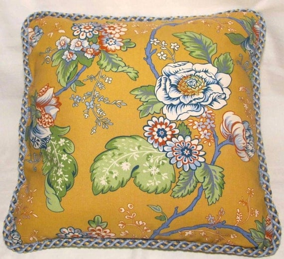 Provence Country French Cottage Pillow Blue Yellow Green Red Floral Provencal