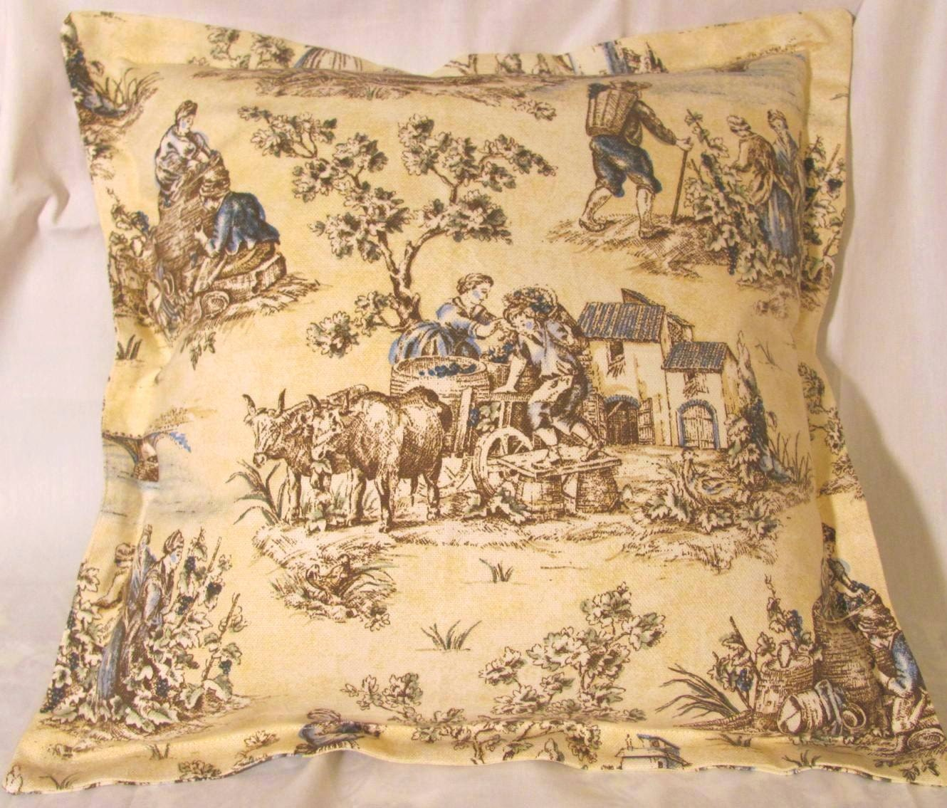 Shabby country french cottage toile pillow romantic chic ivory for Toile shabby chic