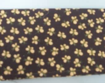 Ladies Checkbook Cover Coupon Holder Clutch Purse Billfold Ready Made Brown Fabric Yellow Butterflies