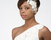 Elegant Romance lace and feather bridal fascinator