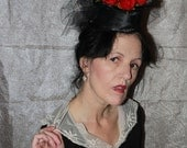red roses crow feathers on black satin fascinator