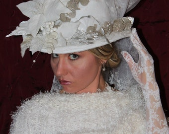 womens white winter  wedding hat