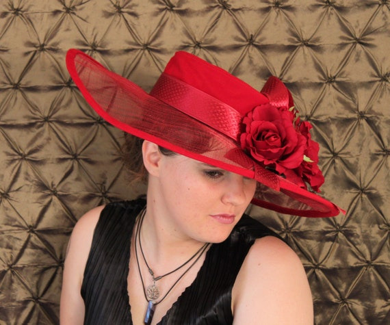 red wide brimmed Kentucky Derby