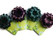 Flower Brooch in Fine Shetland Wool with a Vintage Button in Green, Purple, Heather Pink, Blue, Charcoal & Grey