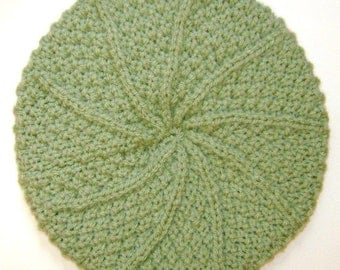 Ladies Aran Wool Hat in Sage Green