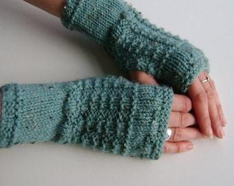 Fingerless Gloves / Mittens / Wrist Warmers in Duck Egg Blue Aran Wool