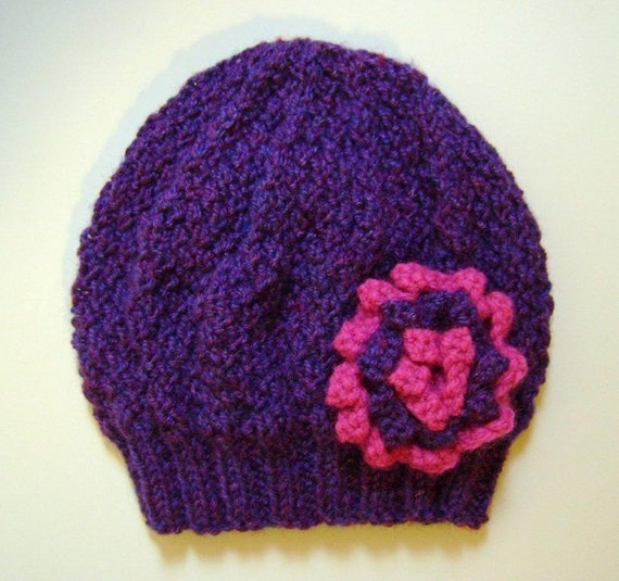Girls Beanie Flower Hat in Purple Mix & Pink, Size Small Age 2 - 4 Years