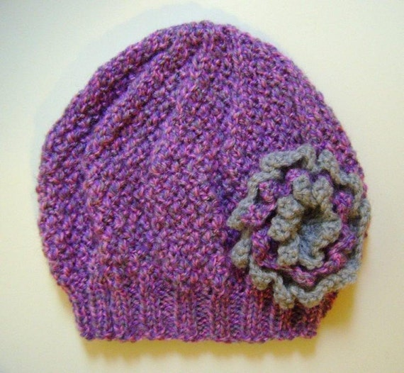 Girls Beanie Flower Hat in Lilac Mix & Grey, Size Small Age 2 - 4 Years