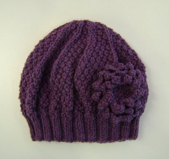 Ladies Hat in Heather Purple With Detachable Flower Brooch Hand Knitted