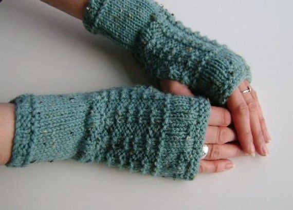 Fingerless Gloves / Mittens / Wrist Warmers in Duck Egg Blue Aran Wool